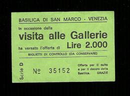 Biglietto Di Ingresso - Gallerie Di Venezia Da Lire 2.000 - Tickets - Entradas