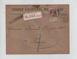 REF3537/ TP 77 GB S/L.Crédit Lyonnais En Recommandé BXL ( R.Ducale Valeurs) 1906 > Verviers C.d'arrivée - 1905 Grosse Barbe