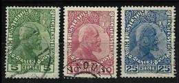 LIECHTENSTEIN 1912 - PRINCIPE - N. 1 / 3 Usati , Serie Compl.  - Cat. 115 € - Lotto 434 - Used Stamps
