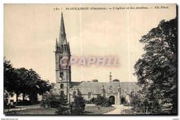 CPA Plougasnou L Eglise Et Les Jardins - Plougasnou
