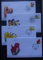 BELGIE  2000   FDC's    Bloemen   4 Waarden  2907 / 2937 / 3046-47       Zie Foto      CW 14,00 - 1991-00