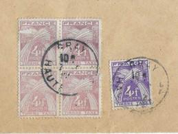 Enveloppe Taxée 1955 / 1 Timbre Taxe N° 84 Violet + Bloc De 4 Anomalie Couleur ( 2 Défauts) - 1859-1955 Used