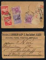 ALGERIE - ALGER / 1927 ETIQUETTE DE COLIS RECOMMANDE  POUR LA FRANCE (ref 2416) - Briefe U. Dokumente