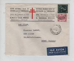 REF3539/ TP 724 T-711 S/L. Avion -10% Oeuvre Nationale > Tuberculose C.St.Gilles (BXL) 1947 > Berne Suisse - Covers & Documents