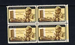 S-1104**US 1962**Scott #1204**Dag Hammarskjold- Yellow Color Variation** 4 Cent  Mint NH**Blk/4 - Nuevos