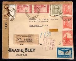 Argentine Belle Lettre Recommandée De 1945 Pour Les Etats-Unis. Affranchissement Multiple + Censure. B/TB. A Saisir! - Cartas