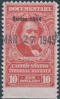 Stati Uniti D'america,United States,U.S.A,1944 Inter.Revenue Stamp DOCUMENTARY $10 Part Imperf, Used 1945 - Fiscaux