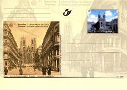 11200504 BE 20001014; Bruxelles Autrefois, Bx Aujourd'hui; Cathédrale St-Michel; Cob BK82 - Cartes Postales [1951-..]