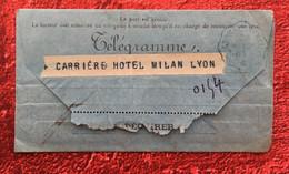 Rare De 1905-LYON GANGES Télégraphes Et Téléphones✔️TÉLÉGRAMME-☛Hôtel Milan Lyon-Amelie Au Repos Pour Guerison - Télégraphes Et Téléphones