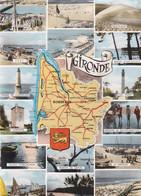 33. GIRONDE.  MULTIVUES. CARTE GEOGRAPHIQUE AVEC LES DIFFERENTS SITES TOURISTIQUES DU  DEPARTEMENT. ANNEE 1965 + TEXTE - Non Classés