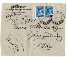 ROMANIA  1923 Registered Mail To Switzerland - Briefe U. Dokumente