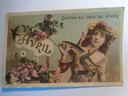 CPA  AVRIL   Devinez Qui Vous Les Envoie  I.R.M. - Femmes