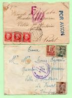 """ESPAGNE - 2 LETTRES Avec CACHETS """"CENSURE"""" - SANTANDER 1937 Et SAN SEBASTIAN 1940 - - 1931-50 Cartas"""