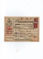 Allemagne - Colis Postaux  Bulletin Expédition   Postpakete Paketkarte  ERLBACH Pour CERBERE GARE   Timbres N°  336+361 - Cartas