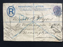 GB Victoria 1887 Registered Cover Tied With 11/2d Lilac Manchester To Birmingham - Lettres & Documents