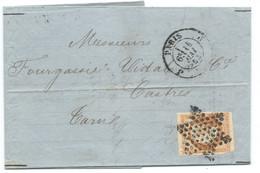 N° 16 ORANGE NAPOLEON SUR LETTRE /  PARIS J POUR CASTRES / 14 MAI 1862 - 1849-1876: Klassik