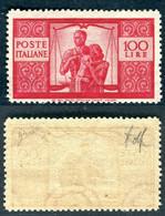 1947/48 Repubblica Italiana 100 Lire Democratica Sassone Specializzato 24Ab € 3500 MNH - 1946-60: Mint/hinged