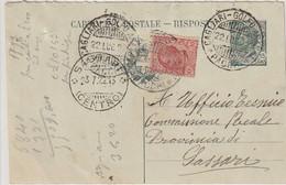 A59. 1913. Annullo Ambulante CAGLIARI - GOLFO ARANCI *PACCHI*, Su Cartolina Postale Per Sassari - Marcofilía