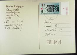 DDR : Post-Karte Mit ABC-Marke 30+5 Pf Vom DDR-Letzttag 2.10.90  Knr: 3353  Nach Dohma - Unterrandstück - Cartas