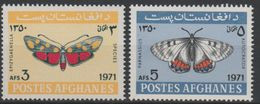 Afghanistan 1971 Mi. 1097-1098 Papillons Butterflies Schmetterlinge 2 Val. MNH** Faune Fauna Insects Insectes Insekten - Afganistán