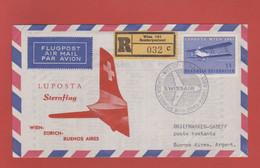 "Par Avion SWISSAIR ""Sternflug"" Wien-Zürich-Buenos Aires 1961 - 1961-70 Covers"