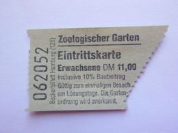 Ticket D'entrée - Zoo De Berlin Allemagne - Zoologischer Garden Eintrittskarte - (Attention : Trace De Charnière Au Dos) - Tickets - Entradas
