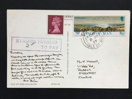 ISLE OF MAN - 1977 Postcard Douglas Postmark With `Stamps Invalid To Pay` Purple Rectangular Cachet - Man (Eiland)