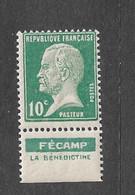 FRANCE YT 170 NEUF** TB PASTEUR  PUB FECAMP - Werbung