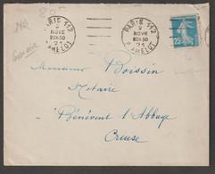 Semeuse N°140 , 4 Lettres Avec Oblitération Mécanique De Paris Pour Bénévent L'Abbaye (creuse) - 1906-38 Sower - Cameo