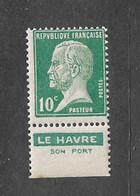 FRANCE YT 170 NEUF** TB PASTEUR  PUB LE HAVRE - Werbung