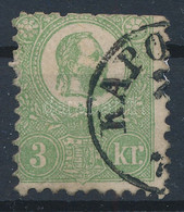 O 1871 Kőnyomat 3kr (140.000) (felül Rövid Fogak / Short Perfs. Above) - Unclassified