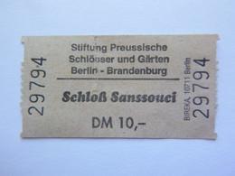Ticket D'entrée - Palais De Sanssouci Berlin Allemagne -  (Attention : Trace De Charnière Au Dos) - Tickets - Entradas