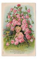 CPA FANTAISIE / ENFANT - BEBE ET HIRONDELLES - ROSES - Unclassified