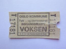 Ticket - Oslo Norvège -  (Attention : Trace De Charnière Au Dos) - Tickets - Entradas
