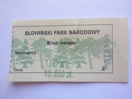 Ticket D'entrée - Parc National De Słowiński Pologne Slowinski Park Narodowy - (Attention : Trace De Charnière Au Dos) - Tickets - Entradas