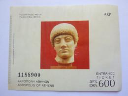 Ticket D'entrée - Acropole D'Athène - Grèce - (Attention : Trace De Charnière Au Dos) - Tickets - Entradas