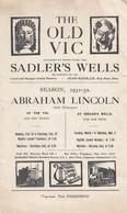 Abraham Lincoln The Old Vic Drama Antique London Theatre Programme - Programma's