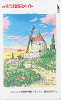 TC JAPON / 110-011 - SERIE SITE PEINTURE MAKO - FRANCE - MOULIN DE DAUDET / FONTVIEILLE JAPAN Painting Phonecard - 192 - Pintura