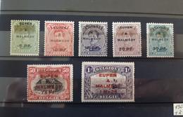 Timbres Belgique : Occupation Malmédy 1920 Cob N° OC 55 à OC 61 NEUF * & - [OC55/105] Eupen/Malmedy