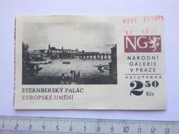 Ticket D'entrée - Palais Sternberg Prague - République Tchèque - (Attention : Trace De Charnière Au Dos) - Tickets - Entradas