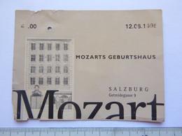 Ticket D'entrée - Maison Natale De Mozart Salzbourg Autriche Mozarts Geburtshaus - Attention : Trace De Charnière Au Dos - Tickets - Entradas