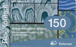 Norway, TEL-MOB-003.1, Telenor Mobil-Etthundreogfemti Kroner, 2 Scans. - Noruega