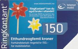 Norway, TEL-MOB-?, Telenor Mobil 150, Ring Kontant, Flowers, 2 Scans. - Noruega