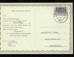 1952 Chininefabriek A.j. V.d. Scheer Zwolle Naar Apotheek Stam Broederenstraat Zwolle (BT-30) - Covers & Documents
