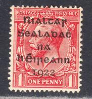 Ireland 1922 Mint Mounted, Broken 'S', Scarlet, Sc# ,SG 2 - Unused Stamps
