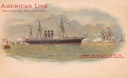 AMERICAN LINE STEAMER SHIP~SOUTHAMPTON-U. S. PRESIDENT HARRISON RAISING FLAG-S S NEW YORK POSTCARD 52137 - Piroscafi