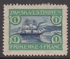 1905. St. Thomas Harbour. 1 Fr. Blue/green.  Hinged. (Michel 35) - JF415217 - Danemark (Antilles)