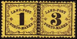 __1862. BADEN. __ LAND-POST 1 + 3 Kr. Hinged. () - JF415312 - Bade