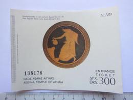 Ticket D'entrée - Temple D'Aphaia - Grèce - (Attention : Trace De Charnière Au Dos) - Tickets - Entradas