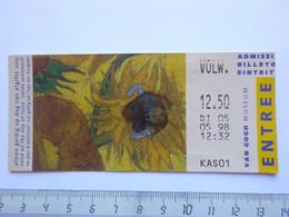 Ticket D'entrée 1998 - Musée Van Gogh - Amsterdam - Pays-Bas - (Attention : Trace De Charnière Au Dos) - Tickets - Entradas
